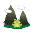 cute toad in the landscape vector image