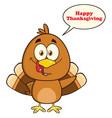 cute turkey bird cartoon character vector image vector image