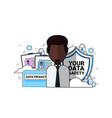 data safety shield support agent african man vector image vector image