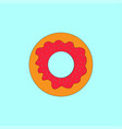 donut with icing on blue turquoise background vector image vector image