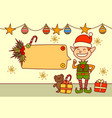 elf showing empty banner for text merry christmas vector image vector image