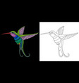embroidery hummingbird design vector image vector image