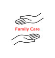 family care logo with thin line hand vector image vector image