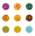 fantasy planet icons set flat style vector image