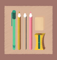flat shading style icon pencil eraser pen vector image vector image