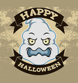 Ghost Head Halloween Badge vector image vector image