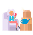 happy young woman flat people moving in new vector image vector image