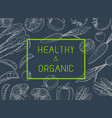 healthy organic eco vegetarian food logo design vector image vector image