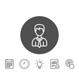 male user line icon male profile sign vector image