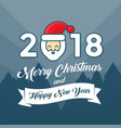 merry christmas and happy new year 2018 year with vector image vector image
