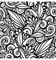 monochrome seamless pattern with floral ornament vector image