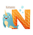 n letter and cute narwhal baby animal zoo