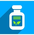 Natural Drugs Flat Square Icon with Long Shadow vector image vector image