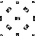 photo camera pattern seamless black vector image