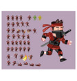 red ninja flat cartoon game character sprite vector image vector image