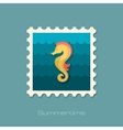 Sea Horse flat stamp vector image