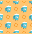 seamless pattern with trash cans and recycling vector image