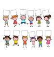 set hand drawn cartoon kids holding blank sign vector image