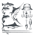 Set icons on the theme of fishing