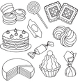 Set of sketches of sweets biscuits and cakes vector image