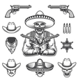 set sheriff and bandit elements vector image vector image