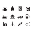 Silhouette oil and petrol industry objects icons vector image vector image