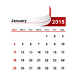 simple calendar 2015 year january month vector image