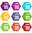 street food cart icon set color hexahedron vector image vector image