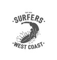 surfing logo ride wave surf rider vector image