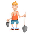 tired man working in the garden vector image