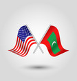 two crossed american and maldivian flags vector image vector image