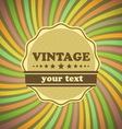 Vintage label on sunrays background vector image vector image