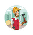 worker with tool on cityscape cartoon vector image vector image
