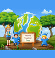 world teachers day with graduation kids and teache vector image vector image