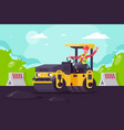 young man on asphalt paver at work on construction vector image vector image