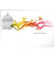 Abstract colorful background with wave and bird vector image vector image