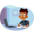 african school boy studying from home vector image