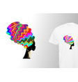 afro woman turban print for stylish t-shirt vector image