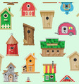 birdhouses seamless pattern vector image