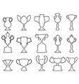 black champion cup outline icons set vector image vector image