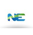 blue green ne n e alphabet letter logo vector image vector image