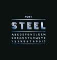 blue steel font alphabet vector image
