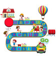 boardgame template with kids in different actions vector image