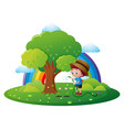 boy watering flower in garden vector image vector image
