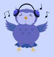 cartoon cute owl listening to music vector image