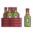 case beer in bottles vector image vector image