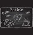 coffee cup toast and croissant icon eat me vector image