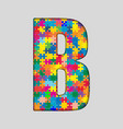 Color Puzzle Piece Jigsaw Letter - B vector image