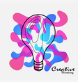 creative light blub with color splash creative vector image vector image