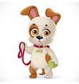 cute cartoon little puppy holding a tennis ball vector image vector image